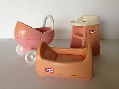 Vintage Little Tikes  Dollhouse Nursery Cradle Stroller High Chair Furniture