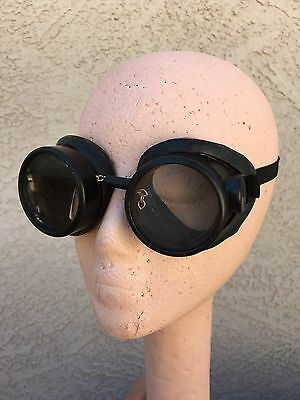 Vtg Willson Steampunk Aviation Motorcycle Glasses Goggles Wilson Screw On