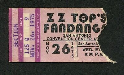 1975 ZZ Top Concert Ticket Stub San Antonio Texas Fandango Tour