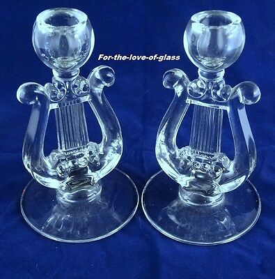 "Crystal Lyre or ""Harp"" Candle Holder Pair By Paden City Glass Co."