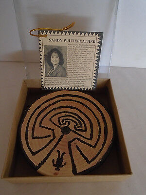"""Sandy Whitefeather Handmade Clay Miniature 3"""" Man in The Maze Basket"""