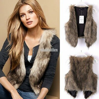 Women Warm Faux Fur Shaggy Sleeveless Vest Winter Coat Jacket Outwear Waistcoat