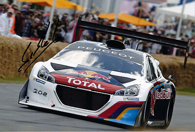 Sebastien Loeb Signed 8X12 Inches Peugeot Red Bull Photo