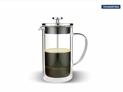 Coffee plunger Tramontina 6 Cup Double Wall Glass Office Kitchen Home Steel Cup