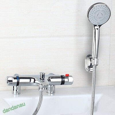 Modern Thermostatic Bath Shower Mixer Tap Deck Mounted Chrome Valve Shower Kit