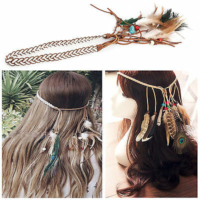 New Adjustable Feather Bohemia Hair Headband Hairband Braided Suede Women Beauty