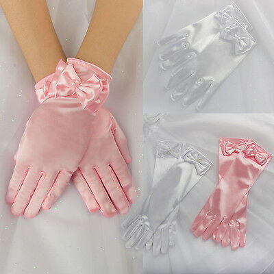 Kids White Satin Long Short Gloves Bridesmaid Pageant Wedding Flower Girl Party