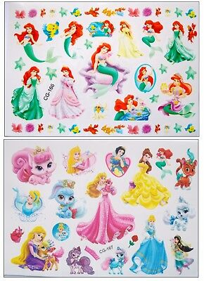 """Disney Princesses Temporary Body Tattoos Stickers - Ariel Belle Rapunzel *NEW*"