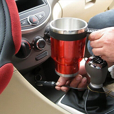 New Universal Car Electric Heated Travel Hot Coffee Tea Water Cup Mug Warmer Red