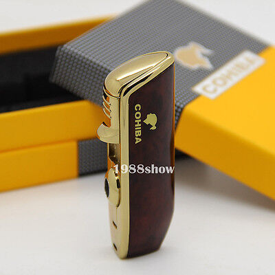 New COHIBA Red Metal Wind Proof 3 Jet Flame Cigar Cigarette Lighter W/PUNCH