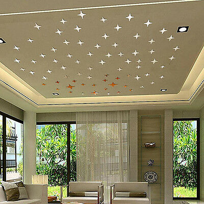 50Pcs 3D Star Shape Mirror Effect Home Decor Wall Art Decals Stickers Retro