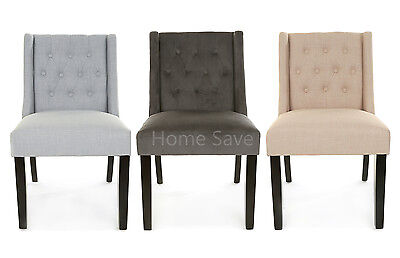 New Oxford Dining Chair Wing Back Pair x 2 Fabric Or Velvet Pale Grey Beige