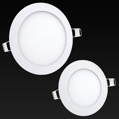 6W or 12W LED Round Recessed Ceiling Flat Panel Down Light Ultra Slim Cool White
