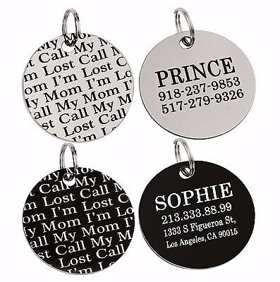 Personalised Dog Tag Pet ID Name Custom Laser Engraving Steel Round Disc Disk