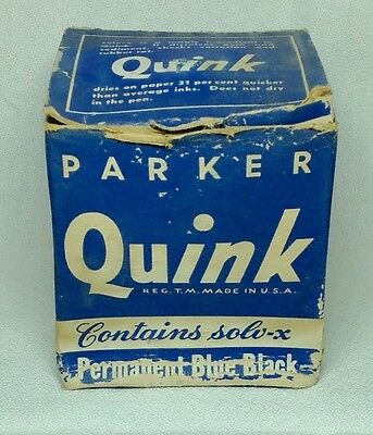 Parker Quink Permanent Blue Black Ink In Original Box Full 2 ounce Bottle