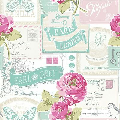 Floral Rose Postcard Wallpaper - Muriva 601520 New Top Quality