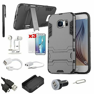 Black Kickstand Case Dock Charger Earphones Accessory For Samsung Galaxy S7