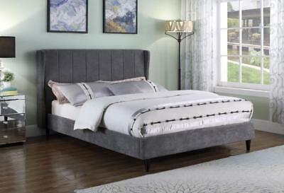 NEW Luxurious Wing Back Double 4'6ft Grey Fabric Bed Frame, Winged Bed