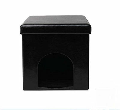 Cat / Dog / Rabbit Pet Bed House Folding Storage Box with Seat ~ Black 28569