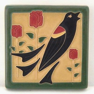 4x4 Arts & Crafts Blackbird Tile in Jade by Arts & Craftsman Tileworks