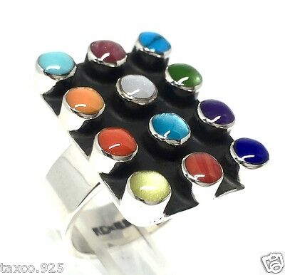 Taxco Mexican 925 Sterling Silver Multi Inlay Adjustable Ring Mexico