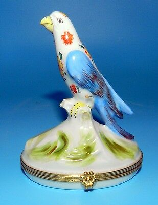 Rare LIMOGES FRANCE Large PARROT TRINKET BOX Peint A La Main HAND PAINTED Beauty