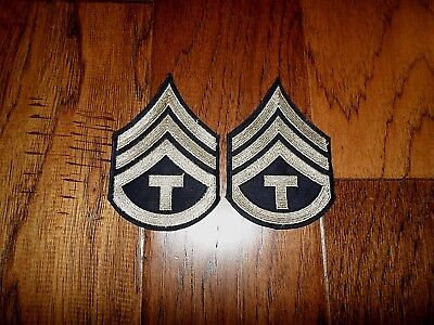 1 Pair Original Us Army Wwii Tech Sergeant Stripes Silver On Black Twill Patches