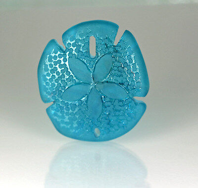 Large Sea Glass Sand Dollar Pendant Bead PACIFIC BLUE 40 x 36 mm.