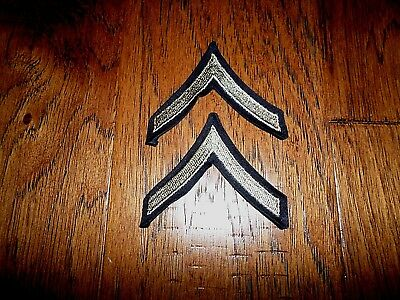 1 Pair Original Us Army Wwii Private Pfc Stripes Silver On Black Twill Patches
