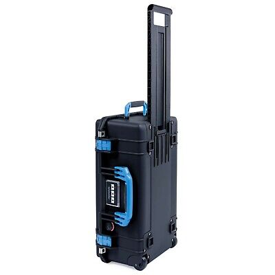 Black with Blue Handle & latches. Pelican 1535 Air No Foam.  With wheels.