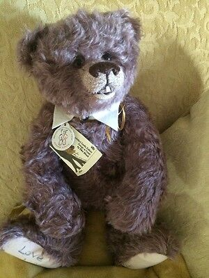 """Schulte Mohair Signed Artist Designed Jointed 14"""" Teddy Bear #14/26 Lavender"""
