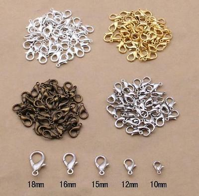 20/100Pcs Silver/Gold/Bronze Lobster Claw Clasps Hooks Finding 10/12/14/16mm AU