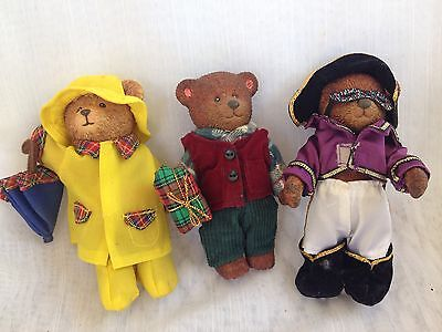 """Russ 4.5"""" Hard Plastic Jointed Teddy Bear Lot 3 Vintage Collectible Toys"""
