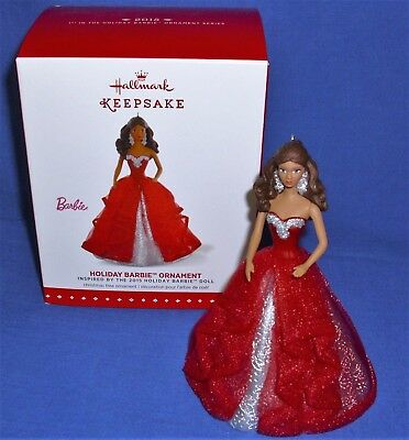 Hallmark Ornament Holiday Barbie #1 2015 Red and Silver Gown African American