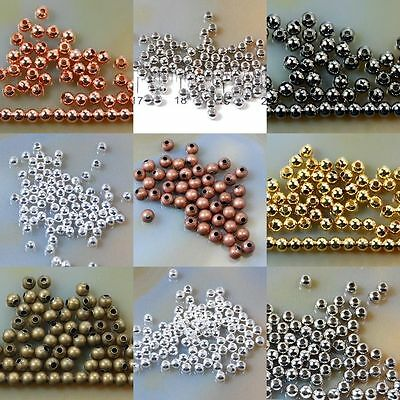 200 x 3mm / 100 x 6mm / 50x 8mm  Metal Copper Spacer Beads - Various Colour