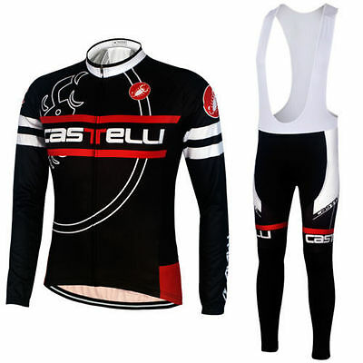 Fn027 Thermal Fleece men's long sleeve cycling jersey set Bib pants Winter Fit