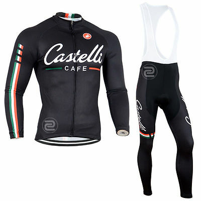Fn028 Thermal Fleece men's long sleeve cycling jersey set Bib pants Winter Fit