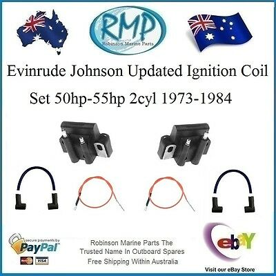 A Brand New Ignition Coils & Leads Johnson Evinrude 50hp-55hp 1973-1984 # 584561
