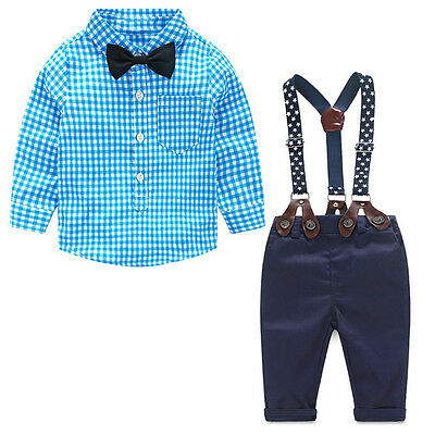 2PCS Kids Newborn Baby Boys Toddler Plaid Shirt+Suspender Pants Overalls Clothes