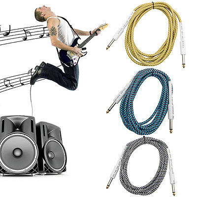 """10FT Bass Guitar 6.35mm 1/4"""" Mono Male to Male Audio Cable Wire Braided Cord"""