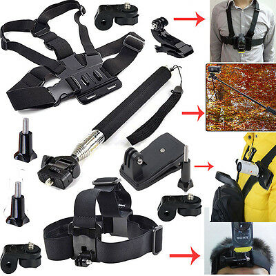 Gopro Kit Accessories Chest Strap+Head Monopod Clip Mount for Sony Action Cam