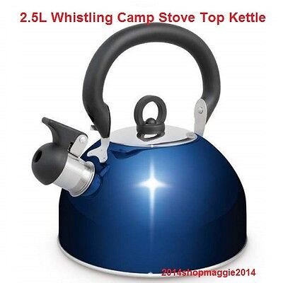 Camping Kettle 2.5L S/Steel Fast Boiling Gas Camp Stove Top Whistling Kettle NEW