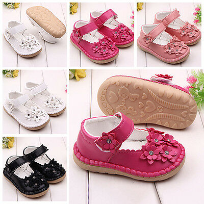 Baby Infant Toddler Girl Flower Rhinestone Faux Leather Princess Shoes Eyeful