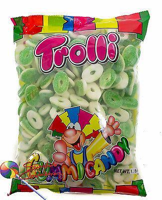 SOUR APPLE RINGS LOLLIES  - 1.5KG - TROLLI - Lolly Buffet, Parties Post Included