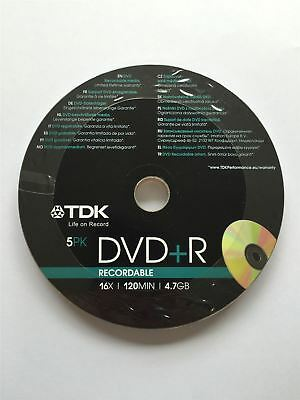TDK DVD+R 120 Mins 4.7GB 16x Speed Recordable Blank Discs - 5 Pack Shrink Wrap
