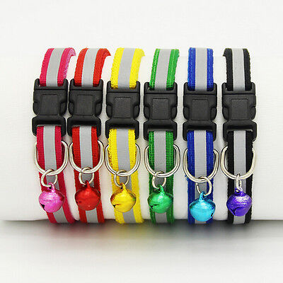 Pet Puppy Cat Kitten Soft Glossy Reflective Collar Safety Buckle with Bell EW