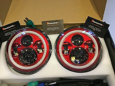 7'' Red LED Head Lights With Halo to fit Jeep Wrangler TJ JK