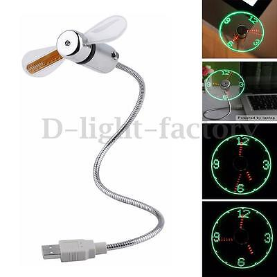 Home Office Flexible Gooseneck USB LED Clock Fan Time Display For PC Notebook