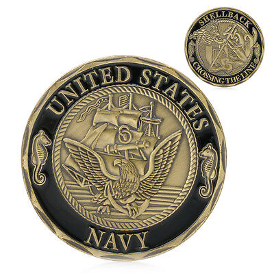 Gold Plated U.S. Navy Shellback Crossing the Line Sailor Commemorative Coin Gift