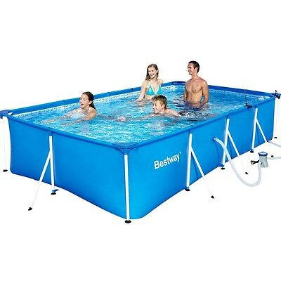 NEW Large Family Bestway Steel Frame Above Ground Outdoor Swimming Pool - Blue
